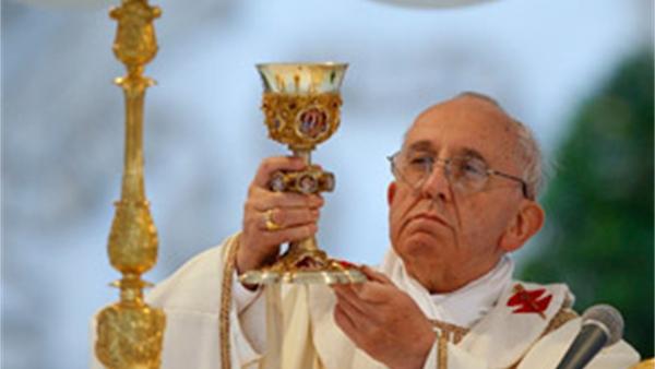 De heilige eucharistie christus een met zijn kerk