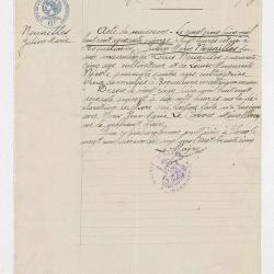 Legion d'honneur - Acte de naissance