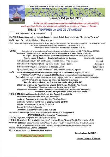 Programme pe lerinage 04 juillet